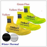 Wholesale 2015 Tinkoff Saxo Bank Green Yellow Fluo Cycling Shoes Covers Bicycly Winter Thermal Fleece Windproof Shoe Covers Size S XL Bicycle Oversho