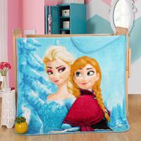 Wholesale Hot Sale Size cm Cartoon Blanket Plush Blankets Frozen Princess kids Coral Fleece Blanket bath towels