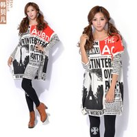 american newspapers - Autumn And Winter New Female European And American Newspapers Printed Large Size Women Knitted Sweaters
