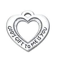 antique god - My Shape Fashion Antique Silver Plated Gods Gift To Me Is You Open Love Heart Affirmation Charm Fashion Jewelry Series