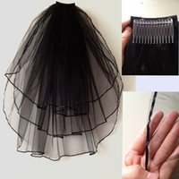 Wholesale Cheap Short Wedding Veil Black White Red Ivory Tier Tulle Ribbon Edged Bridal Veil with Comb for Wedding Dress for Women