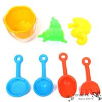 beach rakes - 2016 Special Offer Sand Water Beach Play Toys Set Kids Children Seaside Bucket Shovel Rake Kit Building Sea Horse Molds Funny Tools