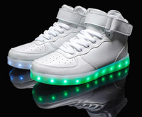 Cheap LED Light Up Shoes 2016 Fashion Led Shoes for Men Women Glowing Sneakers Flats High top Adults Luminous White Shoes