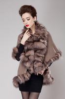 age coats - Middle age women s new luxury quality Autumn winter cloak irregular elegant knitted real fox fur cape cardigan outerwear coat