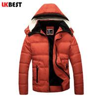 Wholesale LKBEST Men s winter jacket fur Hooded winter down coat cotton men parka Thick Warm men outwear brand clothing PY614L
