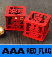 Wholesale Chinese Style Red Wooden Pierced Xi Word New Unique Sweetbox New Wedding Candy Favors Favor holders Wedding Candy package LLY66
