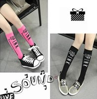 Wholesale 3 Colors Girls PINK Print Socks Letter Printing Knee High Socks Stockings Children Girls Stockings Cotton Leg Warmers PPA525