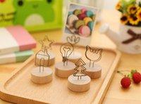 article work - 2016 new korean Fresh Restore wrought iron photo clip Cute wooden desktop Furnishing articles