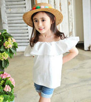 best shirt brands - Girls falbala shoulder shirt summer new children princess tops kids cotton ruffle vest tops girls best dress tops red pink white A8864