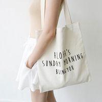 art canvas letters - Korean men and women art canvas bag simple letter shopping bag shoulder bag original small fresh canvas