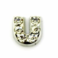 Wholesale 20pcs DIY alphabet CRYSTAL SILVER INITIAL U floating charms for glass Lockets SH739