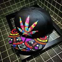 Wholesale 1 of Colorful Weed Baseball Hat Hip hop Rasta Weed Leaf Pot Flat Pop Bill Snapback Baseball Cap pot cap