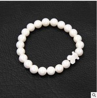 beaded bears - Hot New Fashion Jwelery MM Natural Pearl Titanium Steel Beaded Strands Bangle Bracelet TOUS Bear