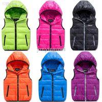 Wholesale Autumn Winter Vests For Boys Girls Hooded Cotton Padded Vest Waistcoats Children Winter Outwear Retail PC ZZ3208