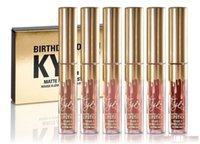 Wholesale 6PCS Kylie Matte Lord Metal Gold LIMITED EDITION KYLIE BIRTHDAY COLLECTION Lip gloss Kylie Birthday Cosmetics Edition