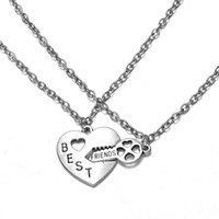Wholesale 2pieces set BEST FRIENDS Necklace Vintage Alloy Love Heart Key Pendant for Friendship Lovers fit Link Chain