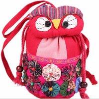Wholesale New portable oblique satchel owl ethnic cloth wind change purse