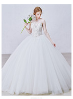Wholesale 2016 Luxury Sposa Ball Gown Wedding Dresses Sexy Lace Appliques Bridal Gowns with Beading Bolero Long Dress