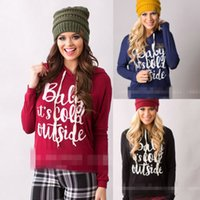 Wholesale Women Hooded T shirt Long Sleeve Tops Christmas Letter Print Blouse Pullover Tee