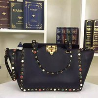 Wholesale New brand designer the imported head calfskin real leather with colorful rivets three colors top A quality casual tote luxury women bag