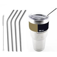 Wholesale 304 Stainless Steel Bend Drinking Straw With Cleaning Brush Set Retail Packing Kit Fits Yeti oz oz Tumbler Rambler Cups