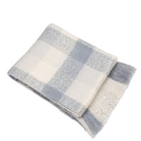 Wholesale Decorative plaid mohair mixed colors throw blanket for sofas beds