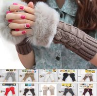 Wholesale 2017 New Arrivals Women Lady Winter Knitted Fingerless gloves adult woman Faux Rabbit Fur Wrist Hand Warmer Gloves Mitten
