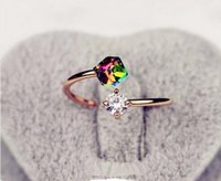Wholesale One Direction Hot Crystal Girl Rings Bijoux New Color Zircon Stones Ring For Women Wedding Jewelry Accessories Gift