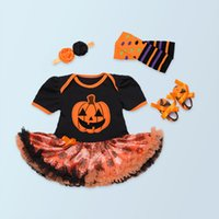 Wholesale 4pc set Baby Girl Romper Tutu Dress Halloween Pumpkin Short Sleeve Dress Headband Shoes Legging Baby Clothing Set Summer