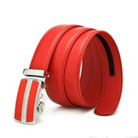 auto sales business - Fashion Formal Business red men belts split cowhide leather belt auto buckle cm hot sale