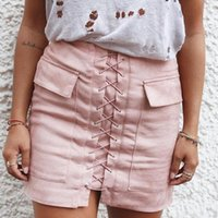 Wholesale New Arrivals Womens Sexy Pocket Suede Bandage Short Sheath Skirts For Women Hot Fashion Spring Fall Winter Slim Pencil Skirts Drop Shipping