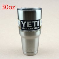 aluminum coffee mug - 30oz Yeti Rambler Tumbler Stainless Steel Vacuum Insulated Cup Double Walled Travel Mug Car Beer Coffee Cup
