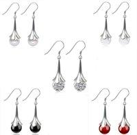 agate dangles - Top Grade Silver Earrings Fashion Shambhala Long Drop Dangle Earring For Women Girl Jewelry with Crystal Agate Pearl Opal Ball Earrings