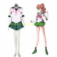 Wholesale Anime Sailor Moon Makoto Kino Sailor Jupiter Cosplay Costume Bishoujo Senshi Halloween Women Dress Custom Size