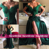 Wholesale Sexy Emerald Green Split Prom Dresses Pretty Satin with Lace Off the Shoulder Sheath Sweep Train Zipper Formal Evening Women Wear Gowns