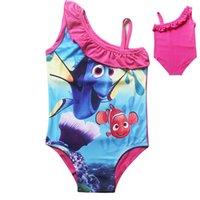 Wholesale Sling Swim Wear - Find Dory Nemo cute baby girls swimwear children one-piece bath suit kids cartoon beach wear princess sling Swimsuit girl swimming clothes