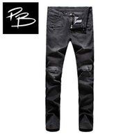 Wholesale Paris France New Style Famous Brand Balmain Jeans Men High Quality Cotton Biker Jeans Slim Fit Motorcycle Jeans Homme