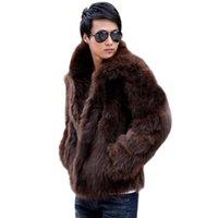 Wholesale Fall Mens Fashion Solid Vetement Homme Faux Fox Fur Coat Casual Warm Jacket Outwear Autumn Winter Style Plus Size L XL