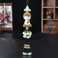 Wholesale 2016 creative Automotive Rearview Mirror Peace Pendant handmade Diamonds Buddha Bodhi White Jade Beads Car Hanging Decor
