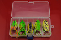 Cheap Hot sale NEW 5pcs Frog Lure Frog Baits Fishing Soft Plastic Baits Hook with Fishing Tackle Lure plastic Box Free Shipping