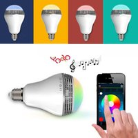 led color bulb - USA New Wireless Control Speaker Smart Music Audio Speaker LED RGB Color Bulb Light Lamps E27 Seven Color