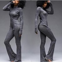 Wholesale Women s knited fabric tracksuits fashion long sleeve split tops long flares pants track suit casual bodycon tracksuit sets clothing XG0156
