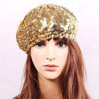 beautiful peaches - beautiful fashion Dance reception party lady s sequined hat factory sequin beret hat super cool