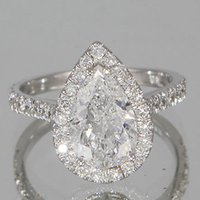 certified diamond ring - 2 ct Vintage GIA Certified Pear Diamond Engagement Ring D VS1