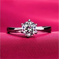 Wholesale Never fading carat claws large simulated diamond Rings women K white gold plared Engagement alliance USA size