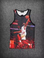 Wholesale Fashion Sport Man s Tank Top Mesh Grid Gym Vest Quick Dry D print Lebron Harden Kobe Size M XXL