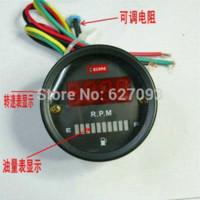 Wholesale 52mm DC V Red LED Fuel Gauge Oil meter digital tachometer in1 Instruments For Car Motorcycle Truck