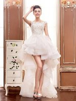 Wholesale high low wedding dresses applique scoop neck hollow back beach bridal dress ruffles tulle sweep train wedding gowns