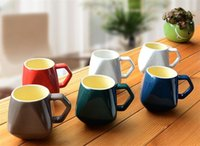 Wholesale Diamond Ceramic mug Coffee cup Retro Breakfast Milk Cup mug with spoon