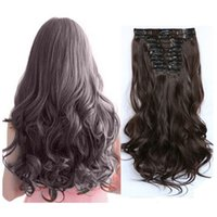 Wholesale 22 quot Color Set Natural Hairpieces Long Wavy Kinky Curly Synthetic Clip In Hair Extensions Set Clip On Hair Piece